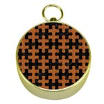 PUZZLE1 BLACK MARBLE & RUSTED METAL Gold Compasses Front
