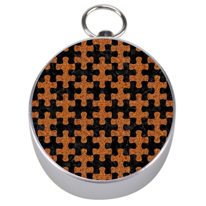 PUZZLE1 BLACK MARBLE & RUSTED METAL Silver Compasses