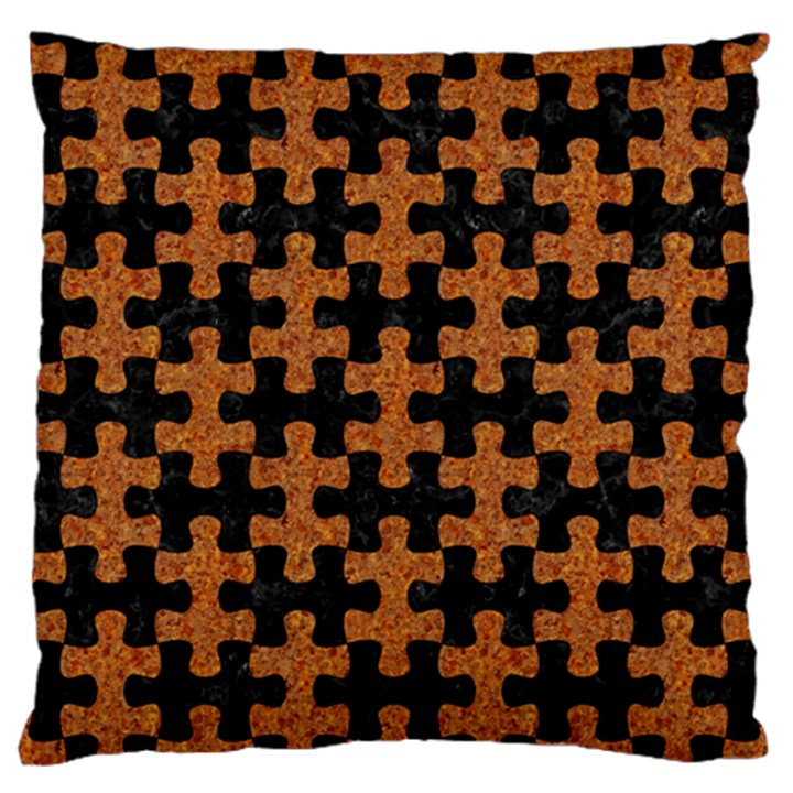 PUZZLE1 BLACK MARBLE & RUSTED METAL Standard Flano Cushion Case (One Side)