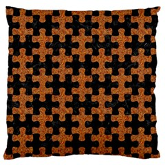 Puzzle1 Black Marble & Rusted Metal Large Flano Cushion Case (two Sides)