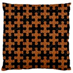 PUZZLE1 BLACK MARBLE & RUSTED METAL Large Flano Cushion Case (Two Sides) Front