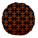 PUZZLE1 BLACK MARBLE & RUSTED METAL Large 18  Premium Flano Round Cushions Back