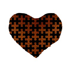 Puzzle1 Black Marble & Rusted Metal Standard 16  Premium Flano Heart Shape Cushions