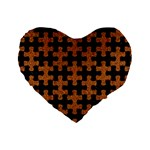 PUZZLE1 BLACK MARBLE & RUSTED METAL Standard 16  Premium Flano Heart Shape Cushions Front