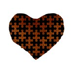 PUZZLE1 BLACK MARBLE & RUSTED METAL Standard 16  Premium Flano Heart Shape Cushions Back