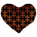 PUZZLE1 BLACK MARBLE & RUSTED METAL Large 19  Premium Flano Heart Shape Cushions Front