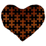 PUZZLE1 BLACK MARBLE & RUSTED METAL Large 19  Premium Flano Heart Shape Cushions Back