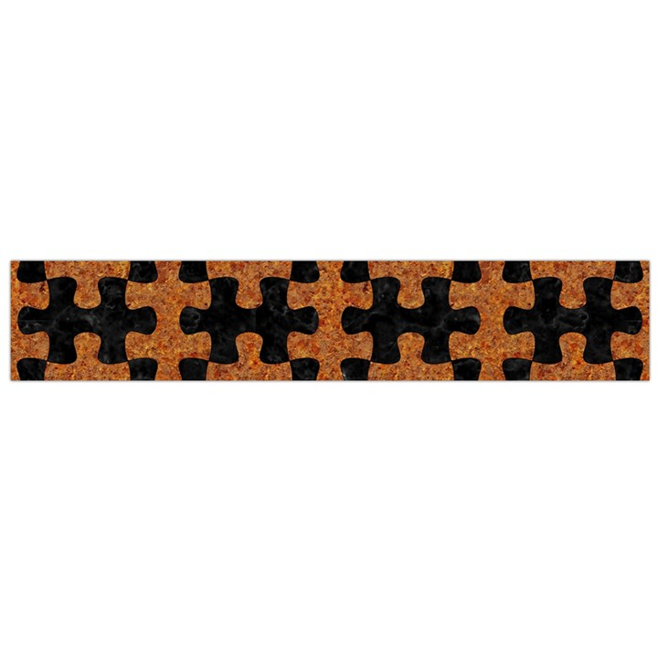 PUZZLE1 BLACK MARBLE & RUSTED METAL Flano Scarf (Large)