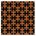 PUZZLE1 BLACK MARBLE & RUSTED METAL Large Satin Scarf (Square) Front