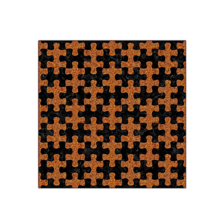 PUZZLE1 BLACK MARBLE & RUSTED METAL Satin Bandana Scarf