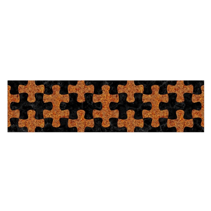 PUZZLE1 BLACK MARBLE & RUSTED METAL Satin Scarf (Oblong)