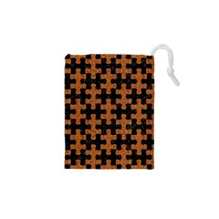 Puzzle1 Black Marble & Rusted Metal Drawstring Pouches (xs)