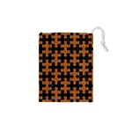 PUZZLE1 BLACK MARBLE & RUSTED METAL Drawstring Pouches (XS)  Front