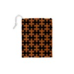 PUZZLE1 BLACK MARBLE & RUSTED METAL Drawstring Pouches (XS)  Back