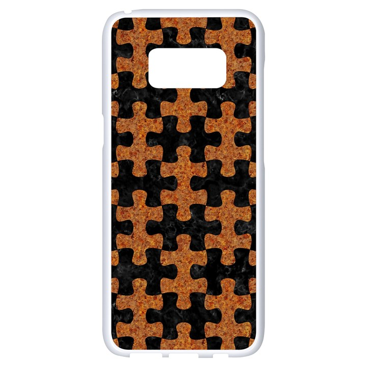 PUZZLE1 BLACK MARBLE & RUSTED METAL Samsung Galaxy S8 White Seamless Case