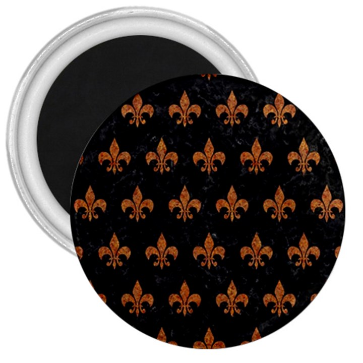 ROYAL1 BLACK MARBLE & RUSTED METAL 3  Magnets