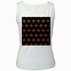 Royal1 Black Marble & Rusted Metal Women s White Tank Top