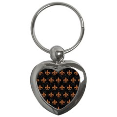 Royal1 Black Marble & Rusted Metal Key Chains (heart)