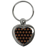 ROYAL1 BLACK MARBLE & RUSTED METAL Key Chains (Heart)  Front