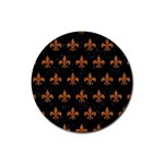 ROYAL1 BLACK MARBLE & RUSTED METAL Rubber Coaster (Round)  Front