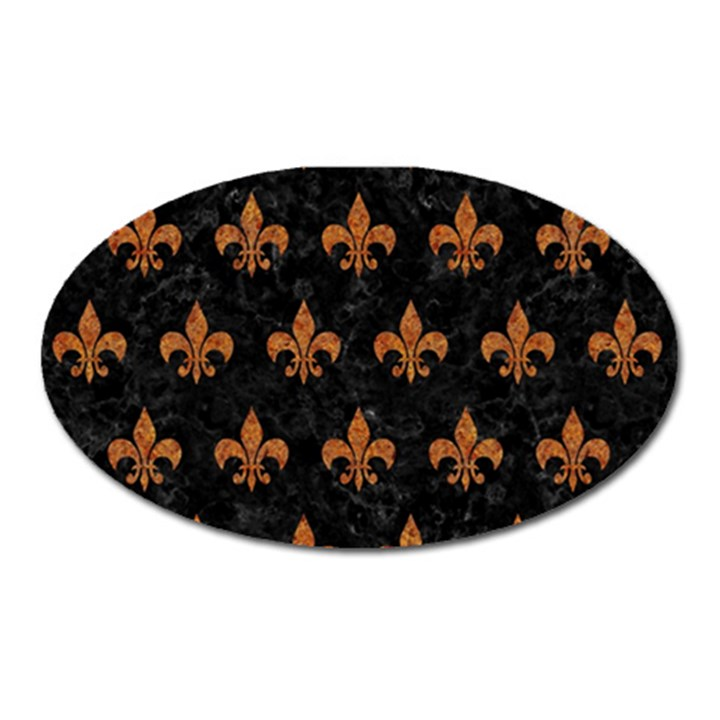 ROYAL1 BLACK MARBLE & RUSTED METAL Oval Magnet