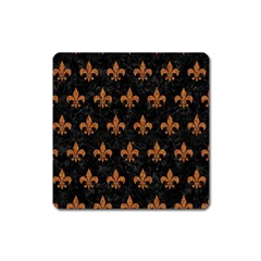 Royal1 Black Marble & Rusted Metal Square Magnet