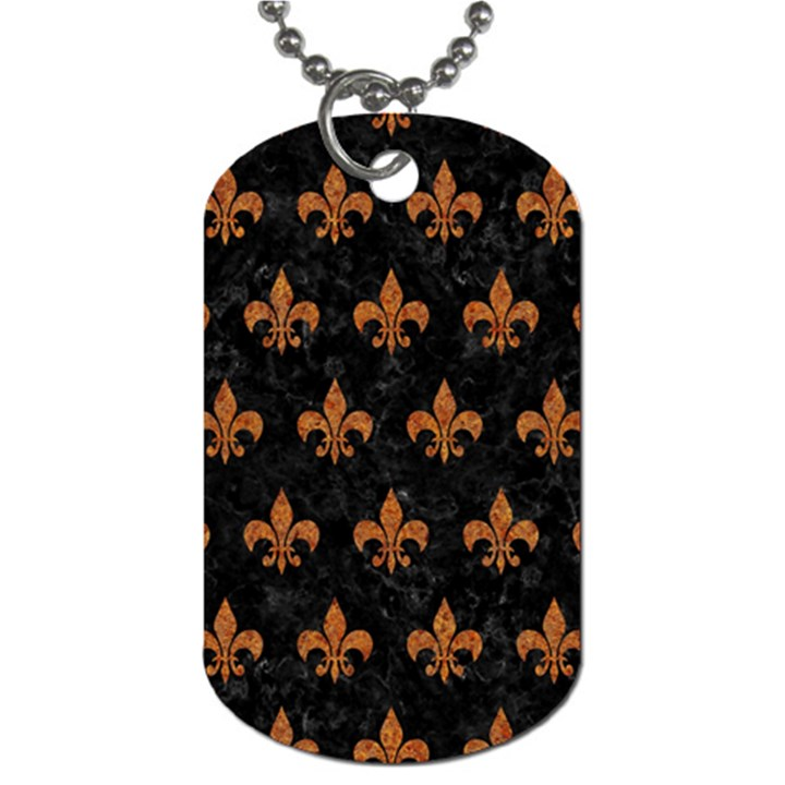ROYAL1 BLACK MARBLE & RUSTED METAL Dog Tag (One Side)