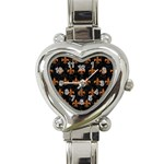 ROYAL1 BLACK MARBLE & RUSTED METAL Heart Italian Charm Watch Front