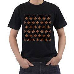 Royal1 Black Marble & Rusted Metal Men s T Shirt (black) (two Sided)