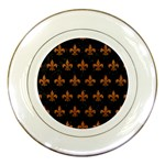 ROYAL1 BLACK MARBLE & RUSTED METAL Porcelain Plates Front