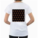 ROYAL1 BLACK MARBLE & RUSTED METAL Women s Loose-Fit T-Shirt (White) Back