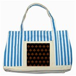 ROYAL1 BLACK MARBLE & RUSTED METAL Striped Blue Tote Bag Front