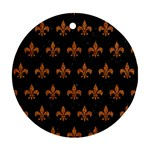 ROYAL1 BLACK MARBLE & RUSTED METAL Round Ornament (Two Sides) Back