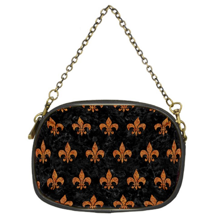 ROYAL1 BLACK MARBLE & RUSTED METAL Chain Purses (Two Sides)