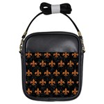 ROYAL1 BLACK MARBLE & RUSTED METAL Girls Sling Bags Front