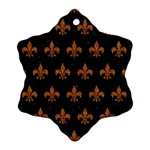 ROYAL1 BLACK MARBLE & RUSTED METAL Ornament (Snowflake) Front