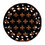 ROYAL1 BLACK MARBLE & RUSTED METAL Round Filigree Ornament (Two Sides) Front