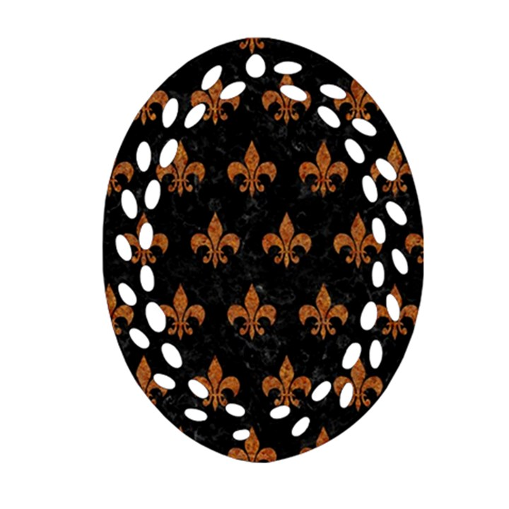 ROYAL1 BLACK MARBLE & RUSTED METAL Ornament (Oval Filigree)
