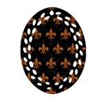 ROYAL1 BLACK MARBLE & RUSTED METAL Oval Filigree Ornament (Two Sides) Front
