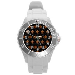 Royal1 Black Marble & Rusted Metal Round Plastic Sport Watch (l)