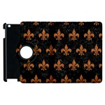 ROYAL1 BLACK MARBLE & RUSTED METAL Apple iPad 3/4 Flip 360 Case Front