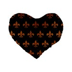 ROYAL1 BLACK MARBLE & RUSTED METAL Standard 16  Premium Heart Shape Cushions Front