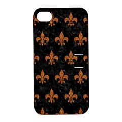 Royal1 Black Marble & Rusted Metal Apple Iphone 4/4s Hardshell Case With Stand