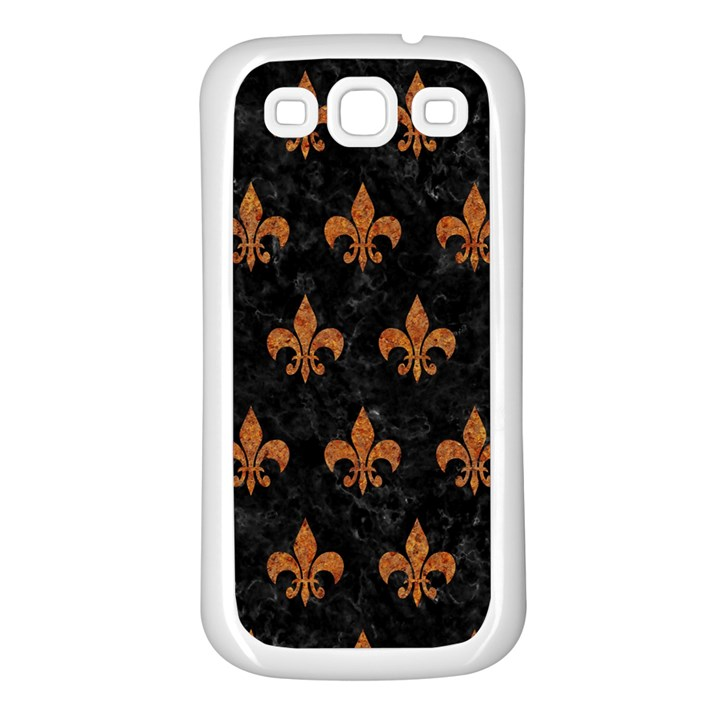 ROYAL1 BLACK MARBLE & RUSTED METAL Samsung Galaxy S3 Back Case (White)