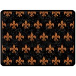 ROYAL1 BLACK MARBLE & RUSTED METAL Double Sided Fleece Blanket (Large)  80 x60 Blanket Front