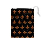 ROYAL1 BLACK MARBLE & RUSTED METAL Drawstring Pouches (Medium)  Front