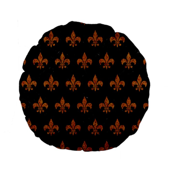 ROYAL1 BLACK MARBLE & RUSTED METAL Standard 15  Premium Flano Round Cushions