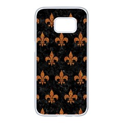 Royal1 Black Marble & Rusted Metal Samsung Galaxy S7 Edge White Seamless Case
