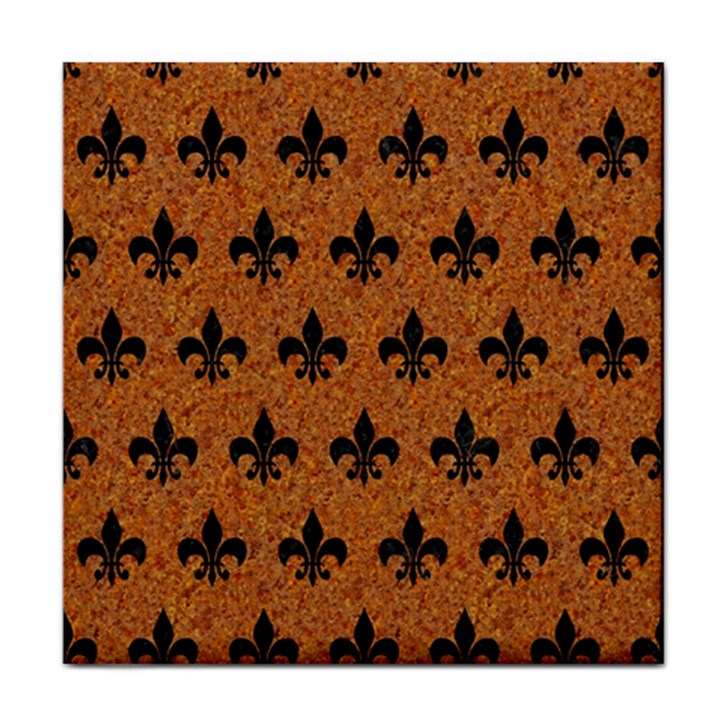 ROYAL1 BLACK MARBLE & RUSTED METAL (R) Tile Coasters