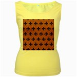 ROYAL1 BLACK MARBLE & RUSTED METAL (R) Women s Yellow Tank Top Front